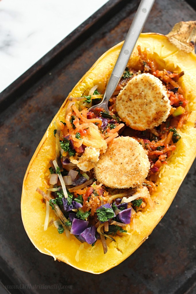 Spaghetti Squash Primavera with Baked Goat Cheese | C it Nutritionally [ad] A lightened-up pasta dish made of spaghetti squash, Mann's Kale Beet Blend and topped with savory and creamy baked goat cheese rounds, my Spaghetti Squash Primavera with Baked Goat Cheese is perfect when hearty comfort food with a healthier twist is calling your name! Vegetarian, Gluten Free, Nut Free, Soy Free