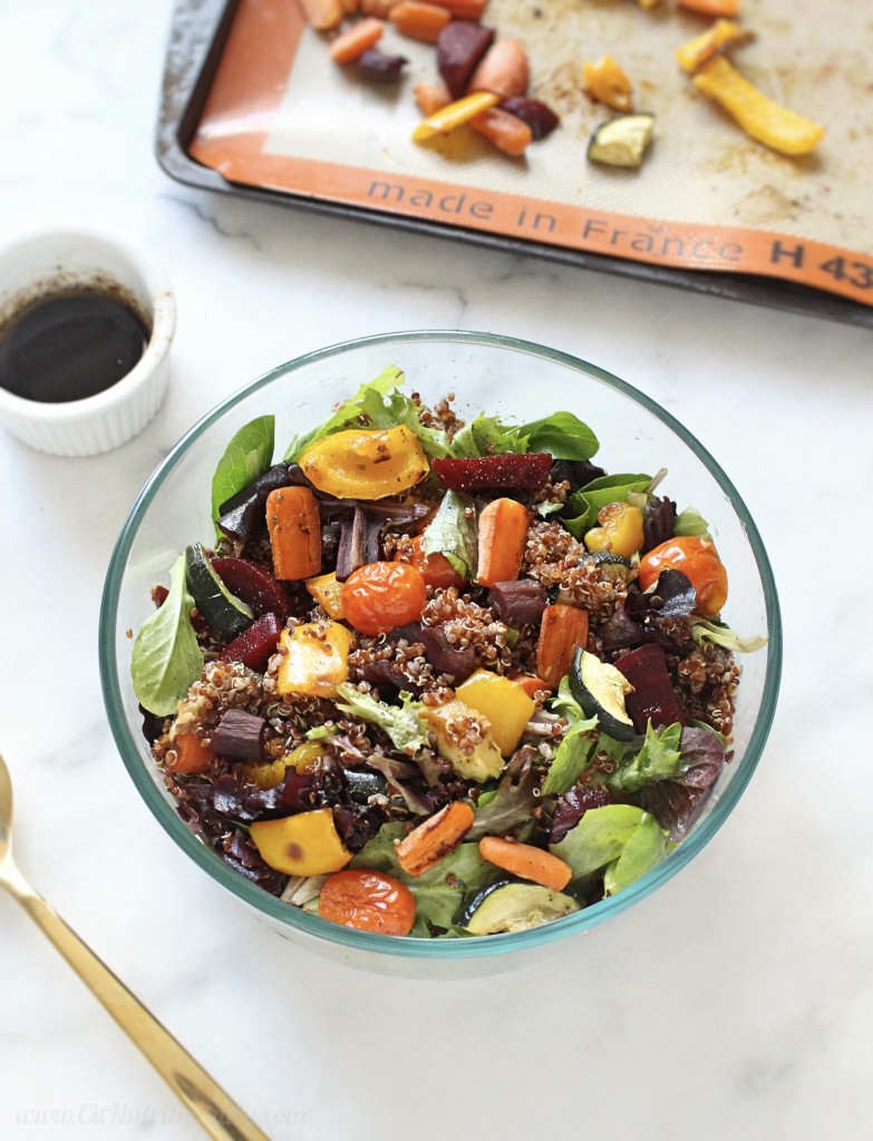 Easy Roasted Vegetable and Quinoa Salad | C it Nutritionally by Chelsey Amer, MS, RDN, CDN
